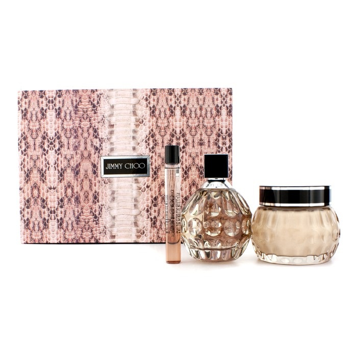 Jimmy Choo Coffret: Eau De Parfum Spray 100ml/3.3oz + Glittering Body Cream 150ml/5oz + Eau De Parfum Roll On 10ml/0.33oz