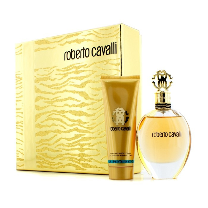 Roberto Cavalli (New) Coffret: Eau De Parfum Spray 75ml/2.5oz + Body Lotion 75ml/2.5oz (Gold Box)