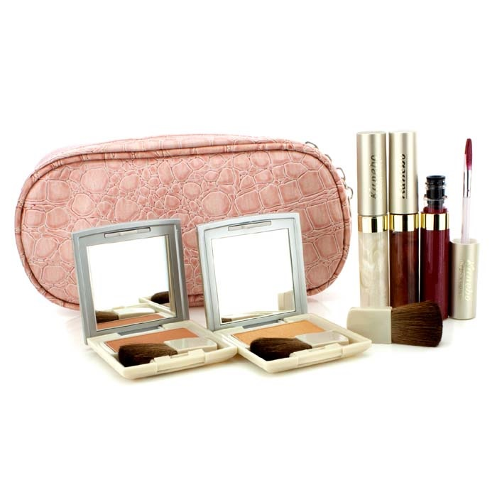 Cheek & Lip Makeup Set With Pink Cosmetic Bag (2xCheek Color, 3xMode Gloss, 1xBrush, 1xCosmetic Bag)