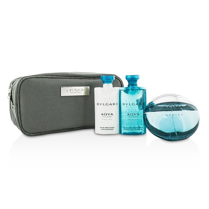 Aqva Pour Homme Marine Coffret: Eau De Toilette Spray 100ml/3.4oz + Shower Gel 75ml/2.5oz + After Shave Balm 75ml/2.5oz + Pouch