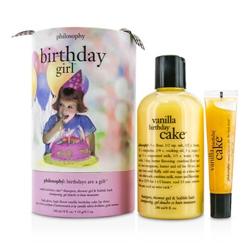Philosophy Birthday Day Girl Set Vanilla Cake Shampoo Shower Gel Bubble Bath 240ml 8oz Lip Shine 14g 05oz