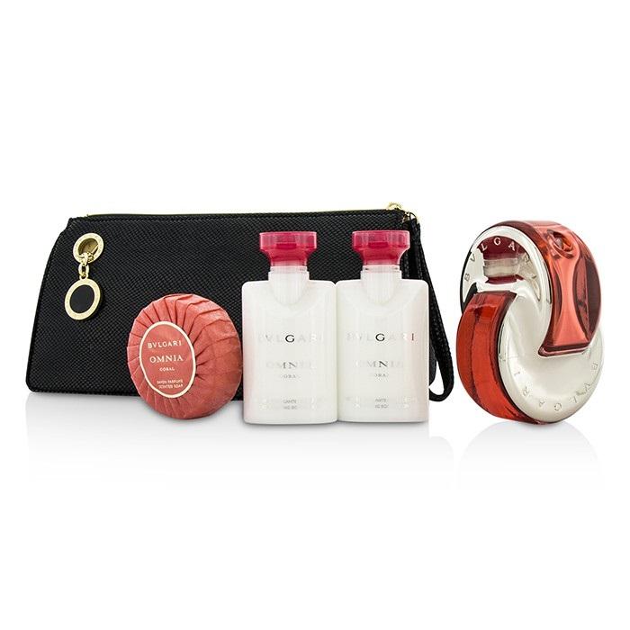 Omnia Coral Coffret: Eau De Toilette Spray 65ml/2.2oz + 2x Body Lotion 40ml/1.35oz +Soap 50g/1.7oz + Pouch