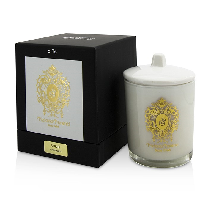 Glass Candle with Gold Decoration & Wooden Wick - Lillipur (White Glass)