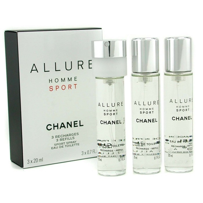 93cc610a936 Chanel Allure Homme Sport EDT Travel Spray Refills (3 Refills). Loading zoom