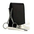 The Art Of Shaving Manicure Set: Nail Clipper + Nose Hair Scissors + Tweezers + Black Leather Pouch