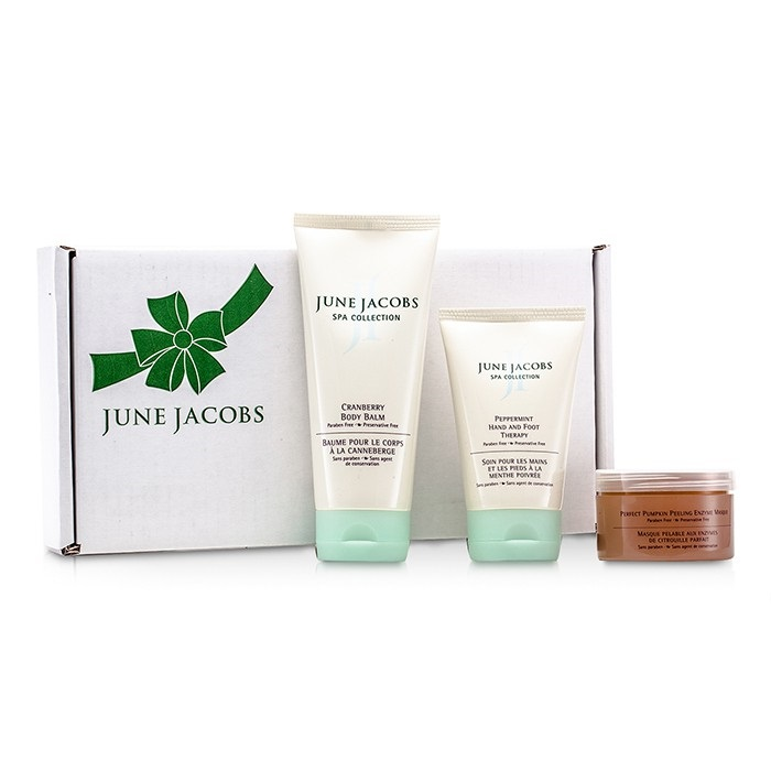June Jacobs At Home Spa Kit: Peeling Masque + Hand & Foot Therapy + Body Balm