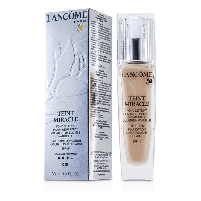 Lancome Teint Miracle Bare Skin Foundation Natural Light Creator SPF 15 - # 010 Beige Porcelaine ...