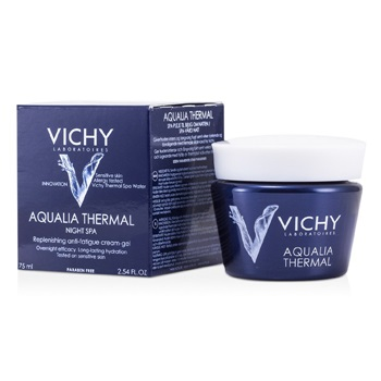 Vichy Aqualia Thermal Night Spa Replenishing Anti-Fatigue Cream-Gel (For Sensitive Skin)