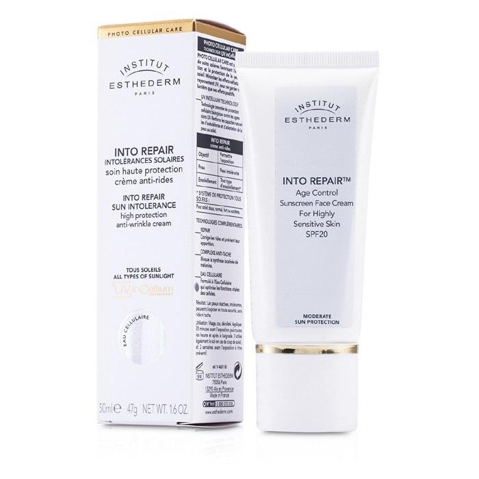 Esthederm - Into Repair Sun Intolerance Sunscreen Face Cream - 50ml/1.6oz pharamgel pharma-c vitamin treatment, 1 fluid ounce