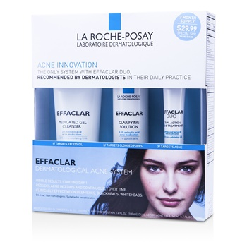 La Roche Posay Effaclar Dermatological Acne System: Gel Cleanser 100ml + Clarifying Solution 100ml + Acne Treament 20ml