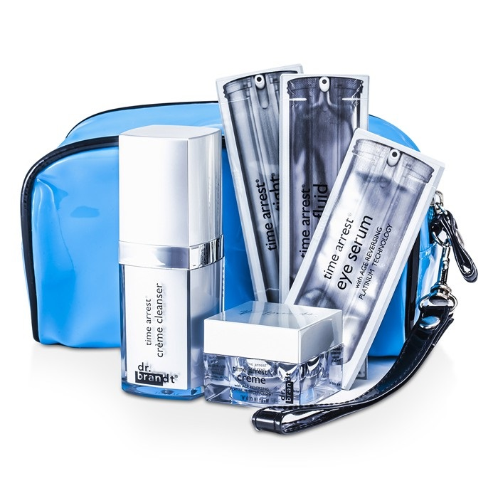 Dr. Brandt Time Arrest Travel Set: Creme Cleanser + Creme + Face Fluid + Laser Tight + Eye Serum + Collagen Booster + Bag