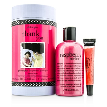Philosophy Thank You Set: Raspberry Sorbet Shampoo, Shower Gel & Bubble Bath 240ml + Lip Shine 12ml