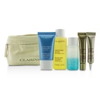 Clarins Travel Set: Toning Lotion 50ml+Eye Makeup Remover 30ml+HydraQuench Cream 15ml+Contouring Serum 10ml+Defining Eye Lift 8ml