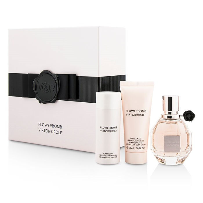 viktor rolf flowerbomb coffret edp spray 50ml body cream 40ml shower gel. Black Bedroom Furniture Sets. Home Design Ideas