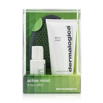 Dermalogica Active Moist Limited Edition Set: Active Moist 100ml + Dermal Clay Cleanser 30ml + Facial Cleansing Mitt