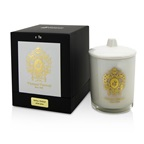 Tiziana Terenzi Glass Candle with Gold Decoration & Wooden Wick - Ischia Orchid (White Glass)