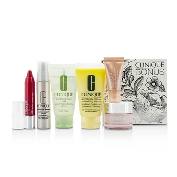 Clinique Travel Set: Facial Soap 30ml + DDML+ 30ml + Moisture Surge Intense 15ml + Smart Serum 10ml +Eye Serum 5ml + Chubby Stick #05