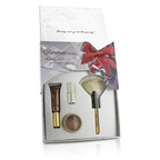 Jane Iredale The Glimmer Gift Box: 1x PureGloss Lip Gloss, 1x 24 Karat Gold Dust Shimmer Powder, 1x Mini Just Kissed Lip & Cheek Stain, 1x White Fan Brush (Travel Size)