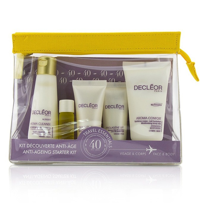 Decleor Anti Aging Starter Kit:Cleansing Milk 50ml+Mask 15ml+Rejuvenating Serum 5ml+Dry Skin Day Cream 15ml+Body Milk 50ml+Bag