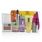 Clinique Travel Set: Makeup Remover+DDML+Moisture Surge Intense+Eye Shadow Duo & Blush+Mascara+Lipstick+Bag