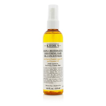 Kiehl's Deeply Restorative Smoothing Hair Oil Concentrate (Daily Leave-In for Frizzy, Unruly Hair)