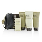 Ahava Men's Care Set: Shaving Cream 100ml + Mineral Shower Gel 100ml + Dermud Intensive Foot Cream 100ml + Purifying Mud Soap 100g