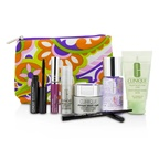 Clinique Travel Set: Makeup Remover+Liquid Facial Soap+Cream+Eye Treatment+Skinny Stick+Mascara+Lip Gloss+Bag