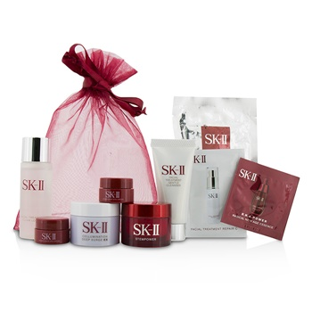 SK II Travel Set: Cleanser 20g +Clear Lotion 30ml + Mask 1pc + Stempower 15g + Deep Surge Ex 15g + Stempower Eye Cream 2x2.5g