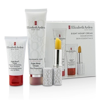 Elizabeth Arden Eight Hour Cream Nourishing Skin Essentials Set: Skin Protectant Fragrance Free+Hand Treatment+Lip Protectant Stick SPF 15