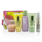 Clinique Travel Set: Facial Soap 30ml + Lotion 2 60ml + DDML 30ml + Serum 10ml + All About Eyes 7ml + Bag