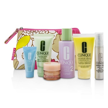 Clinique Travel Set: Facial Soap 30ml+Lotion 2 60ml+DDML 30ml+Smart Serum 10ml+Turnaround Serum 7ml+All About Eyes 7ml+Bag