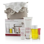 Clarins Beautiful Pregnant Set: Stretch Mark Minimizer 200ml+ Body Oil 100ml+ Flash Balm 15ml + Lip Perfector 5ml + Bag