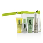 Clinique Travel Set: Liquid Facial Soap Mild + Clarifying Lotion 2 + DDML+ + Smart Custom-Repair Serum + Bag