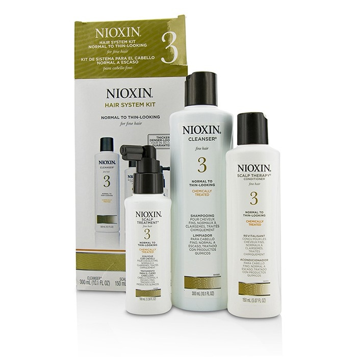 Nioxin System 3 System Kit For Fine Hair, Chemically Treated, Normal to Thin-Looking Hair (Box Slightly Damaged)