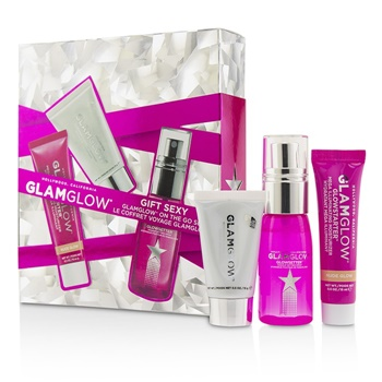 Glamglow Glamglow On The Go Set: Supermud Clearing Treatment 15g/0.5oz + GlowStarter Mega Illuminating Moisturizer - Nude Glow 15ml/0.5oz + GlowSetter Makeup Setting Spray 28ml/0.95oz
