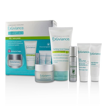 Exuviance Essentials Kit (Oily/ Acne Prone): Facial Cleanser + Eye Complex + Sheer Refining Fluid + HydraGel + Antioxiant Serum