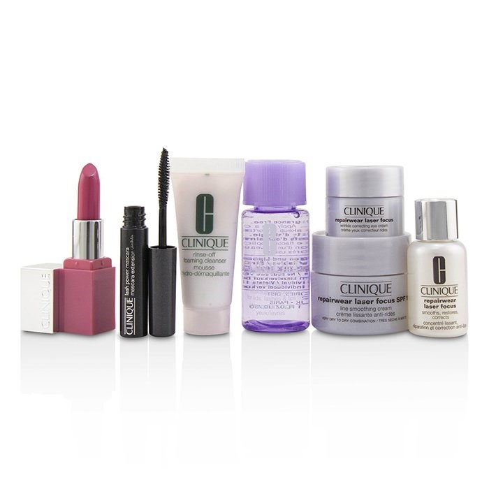 Clinique Travel Set:M/U Remover+Foaming Cleanser+Repairwear Laser Focus +Repairwear Cream SPF15+Repairwear Eye Cream+Mascara+Lip Color