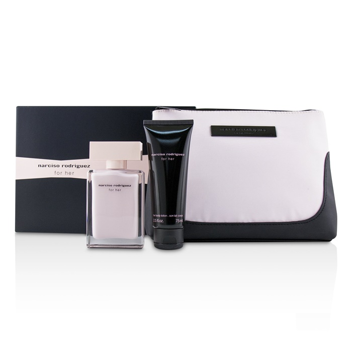 Narciso Rodriguez For Her Coffret: EDP Spray 50ml/1.6oz + Her Body Lotion 75ml/2.5oz + Pouch