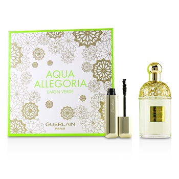 Guerlain Aqua Allegoria Limon Verde Coffret: EDT Spray 125ml/4.2oz + Cils D'Enfer Maxi Lash Volume Creating-Curl Sculpting Mascara 01 Noir 8.5ml/0.28oz