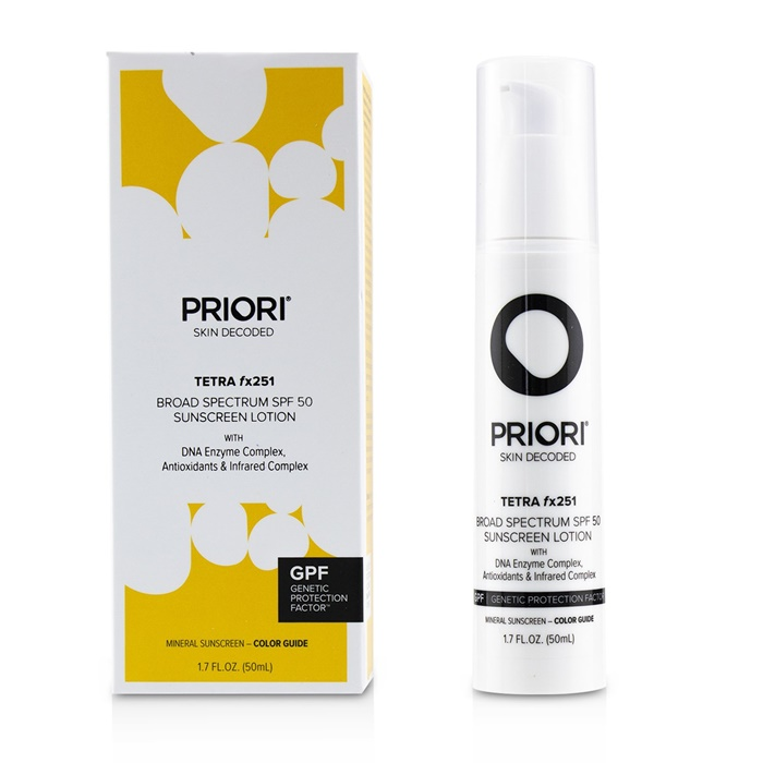 Priori TETRA fx251 Broad Spectrum SPF 45 Sunscreen Lotion - Color Guide