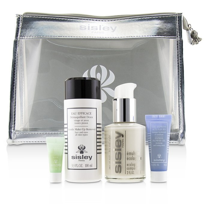 Sisley Week-End Must-Haves Set: Ecological Compound 60ml + Gentle Make-Up Remover 100ml + Express Flower Gel 10ml + Eye Contour Mask