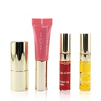 Clarins Beautiful Lips Set (1x Natural Lip Perfector , 1x Joli Rouge Velvet Lipstick, 1x Lip Comfort Oil,  1x Water Lip Stain)