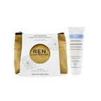 Ren Rosa Centifolia Cleanse & Reveal Starter Kit: Hot Cloth Cleanser 100ml + 100% Unbleached Cotton Cloths 2pcs