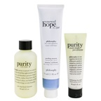 Philosophy Glow All Year Long 3-Pieces Gift Set: One-Step Facial Cleanser 90ml + Peeling Mousse 75ml + Exfoliating Clay Mask 30ml