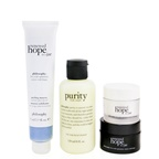 Philosophy Renewed & Grateful 4-Pieces Gift Set: One-Step Facial Cleanser 120ml + Peeling Mousse 75ml + Overnight Moisturizer 15ml + Moisturizer 15ml