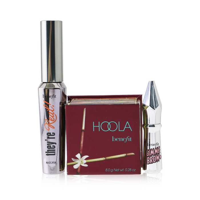 Benefit Bestsellers On Board Set: Hoola Matte Powder Bronzer 8g + They're Real!  Mascara 8.5g + Mini Gimme Brow Gel 1.5g