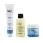 Philosophy Smooth, Glowing & Hopeful 3-Pieces Set: Renewed Hope In A Jar Peeling Mousse 75ml +  One-Step Facial Cleanser 120ml + Renewed Hope In A Jar Hyaluronic Glow Moisturizer 60ml