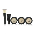 Glo Skin Beauty Meet Your Match 3 Step Foundation Kit (Face Primer + 2x Pressed Base + Perfecting Powder + Mini Kabuki Brush) - # Golden (Medium / Dark)