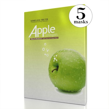 Timeless Truth Apple Stem Cell Collagen Mask - Bio Cellulose Face Mask (Value Pack of 5 Masks)