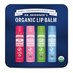 Dr. Bronner's Organic Lip Balm Mixed x 4 Tin (Rose, Cherry Blossom, Lemon Lime & Baby Mild)